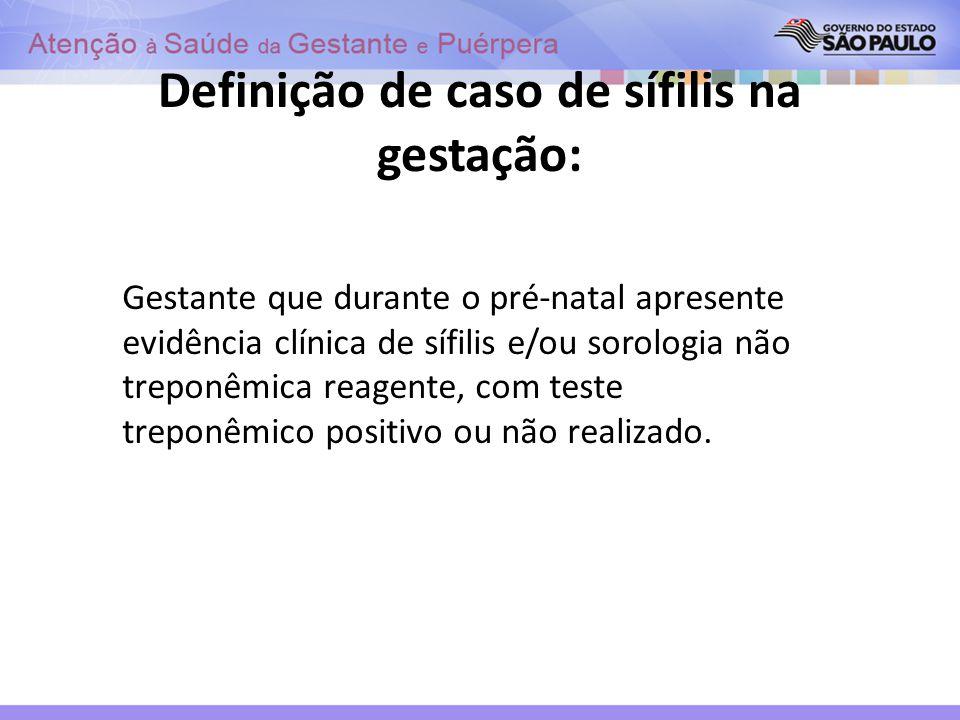 Definição de caso de sífilis na gestação: Gestante que durante o pré-natal apresente evidência clínica de sífilis e/ou sorologia não treponêmica reage