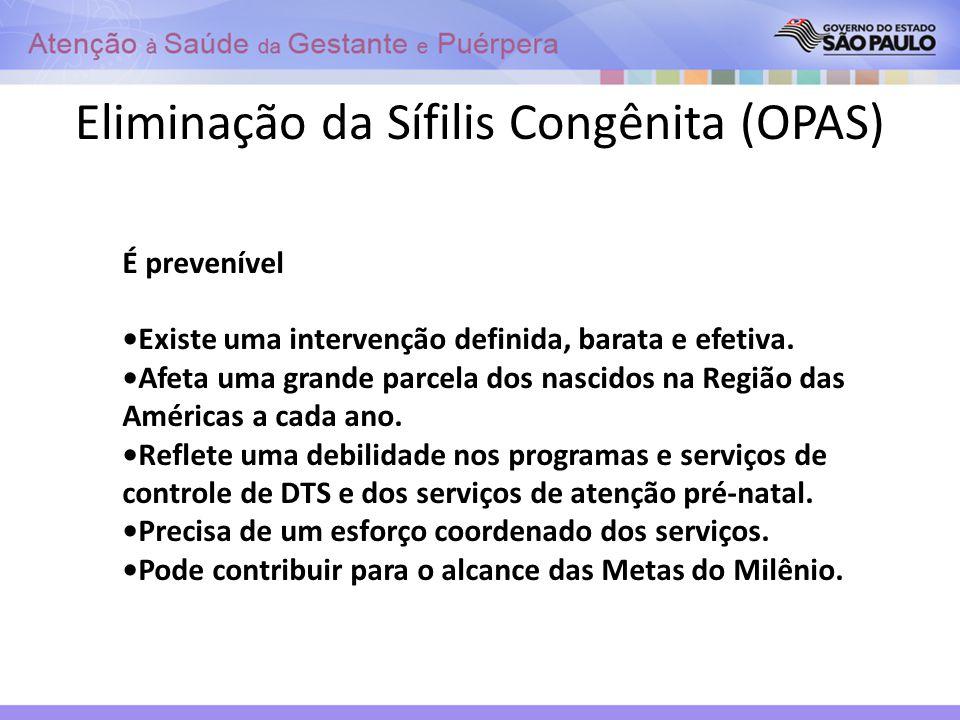 Eliminação da Sífilis Congênita (OPAS) É prevenível Existe uma intervenção definida, barata e efetiva. Afeta uma grande parcela dos nascidos na Região