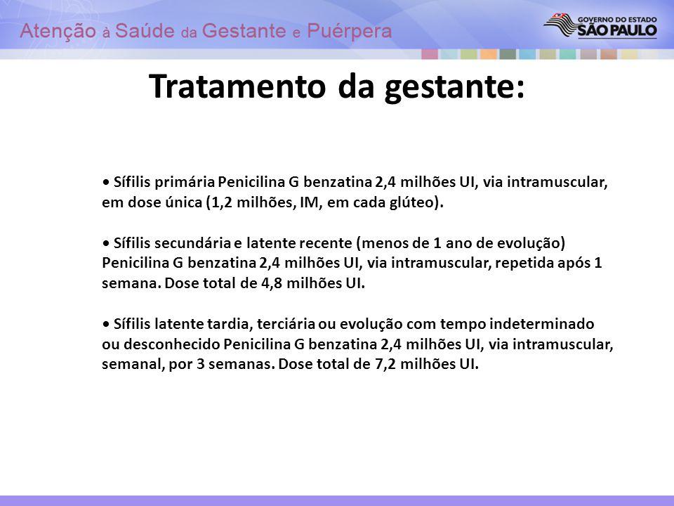 Tratamento da gestante: Sífilis primária Penicilina G benzatina 2,4 milhões UI, via intramuscular, em dose única (1,2 milhões, IM, em cada glúteo). Sí