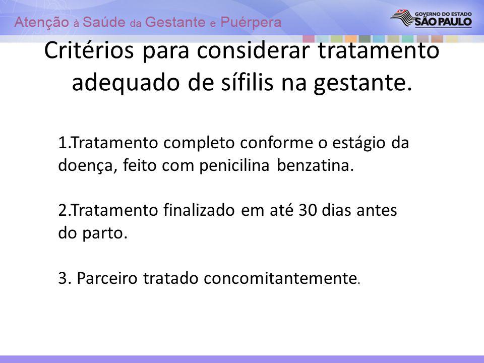 Critérios para considerar tratamento adequado de sífilis na gestante. 1.Tratamento completo conforme o estágio da doença, feito com penicilina benzati