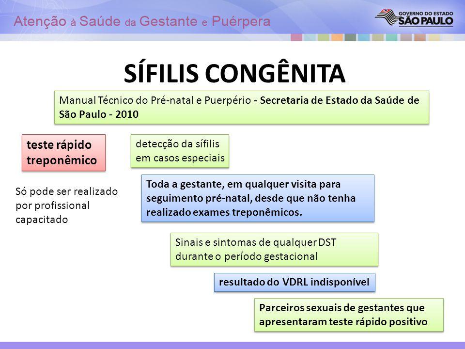 SÍFILIS CONGÊNITA Manual Técnico do Pré-natal e Puerpério - Secretaria de Estado da Saúde de São Paulo - 2010 teste rápido treponêmico detecção da síf