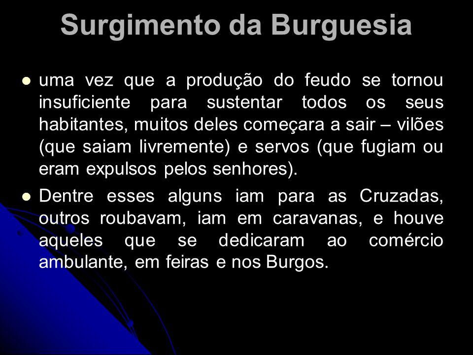 Surgimento da Burguesia uma vez que a produção do feudo se tornou insuficiente para sustentar todos os seus habitantes, muitos deles começara a sair –