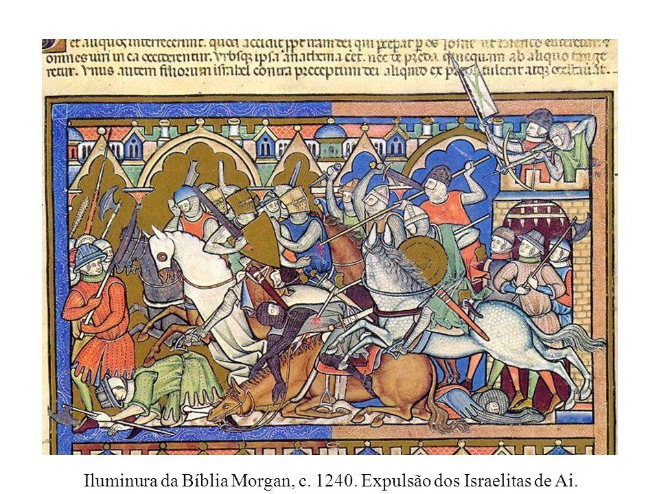 Iluminura da Bíblia Morgan, c. 1240. Expulsão dos Israelitas de Ai.