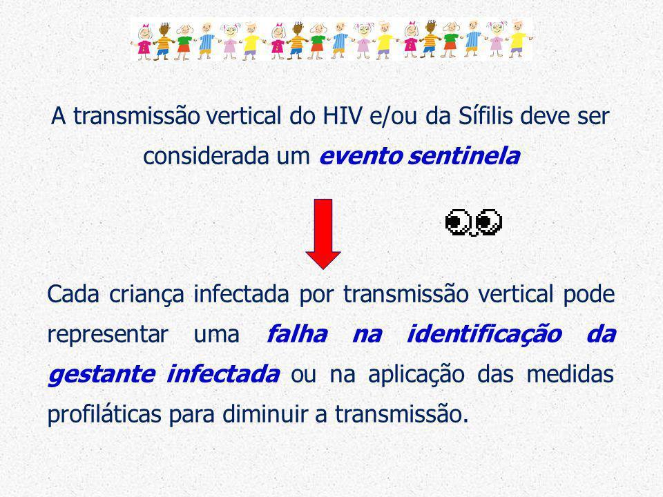 A transmissão vertical do HIV e/ou da Sífilis deve ser considerada um evento sentinela Cada criança infectada por transmissão vertical pode representa