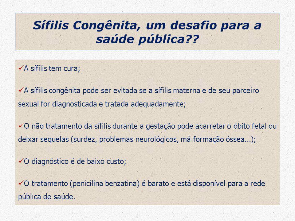 Sífilis Congênita, um desafio para a saúde pública?? A sífilis tem cura; A sífilis congênita pode ser evitada se a sífilis materna e de seu parceiro s