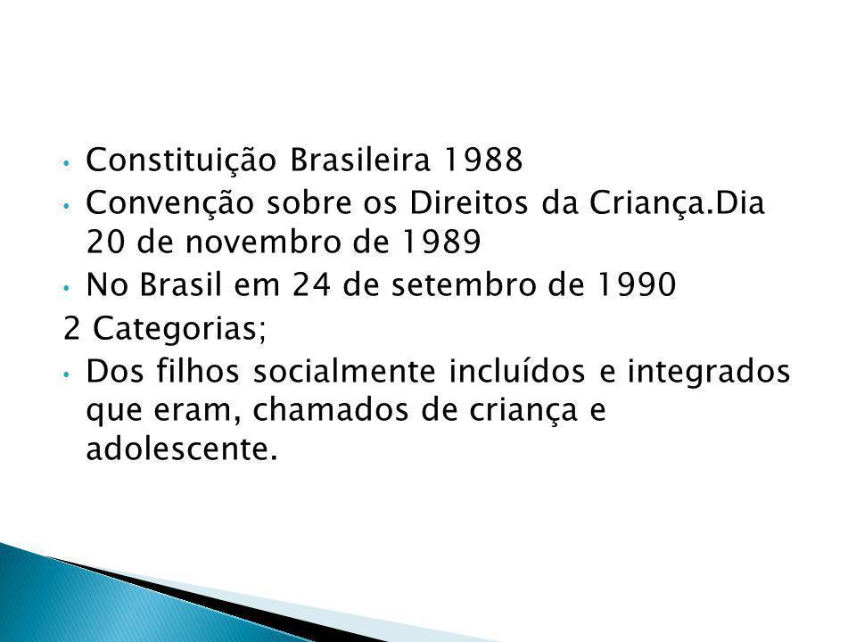 Constituição Brasileira 1988 Convenção sobre os Direitos da Criança.Dia 20 de novembro de 1989 No Brasil em 24 de setembro de 1990 2 Categorias; Dos filhos socialmente incluídos e integrados que eram, chamados de criança e adolescente.