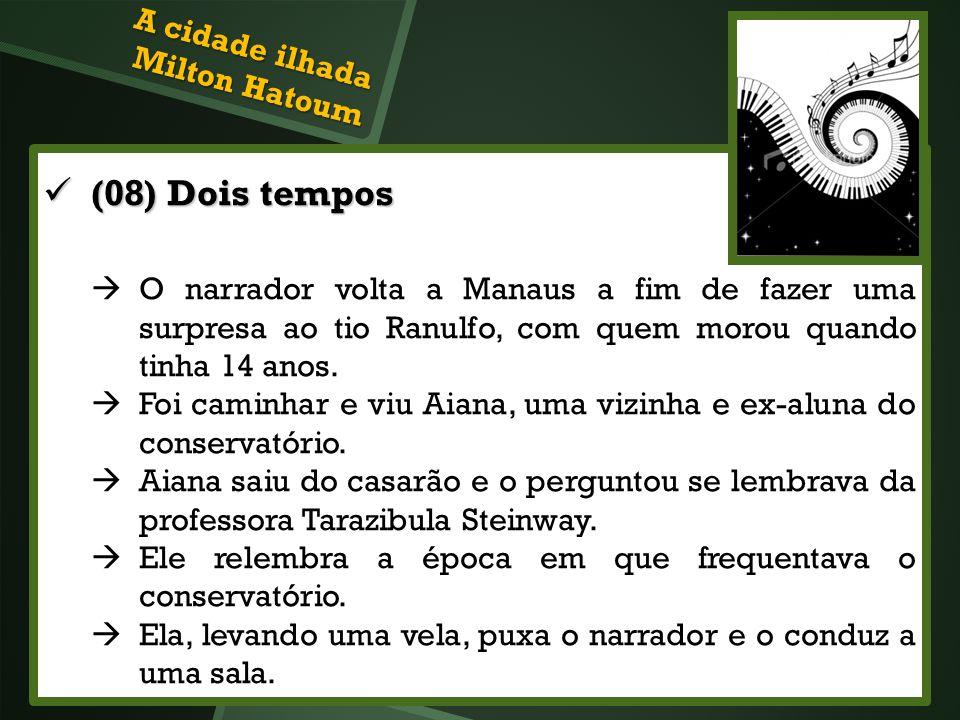 A cidade ilhada Milton Hatoum (08) Dois tempos (08) Dois tempos O narrador volta a Manaus a fim de fazer uma surpresa ao tio Ranulfo, com quem morou q
