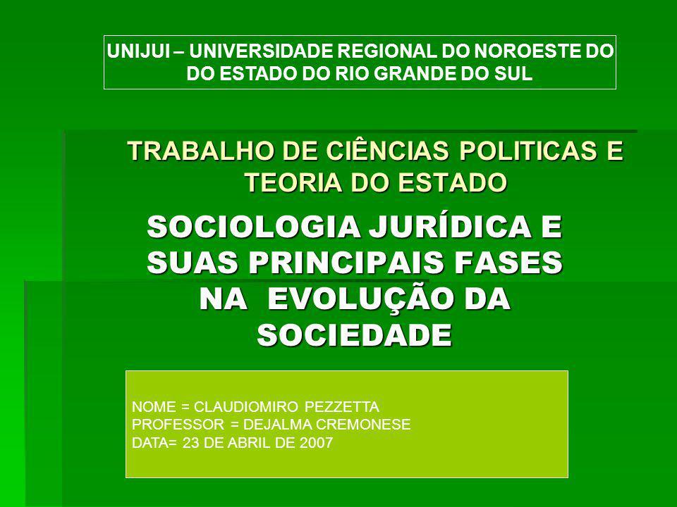 TRABALHO DE CIÊNCIAS POLITICAS E TEORIA DO ESTADO SOCIOLOGIA JURÍDICA E SUAS PRINCIPAIS FASES NA EVOLUÇÃO DA SOCIEDADE NOME = CLAUDIOMIRO PEZZETTA PROFESSOR = DEJALMA CREMONESE DATA= 23 DE ABRIL DE 2007 UNIJUI – UNIVERSIDADE REGIONAL DO NOROESTE DO DO ESTADO DO RIO GRANDE DO SUL