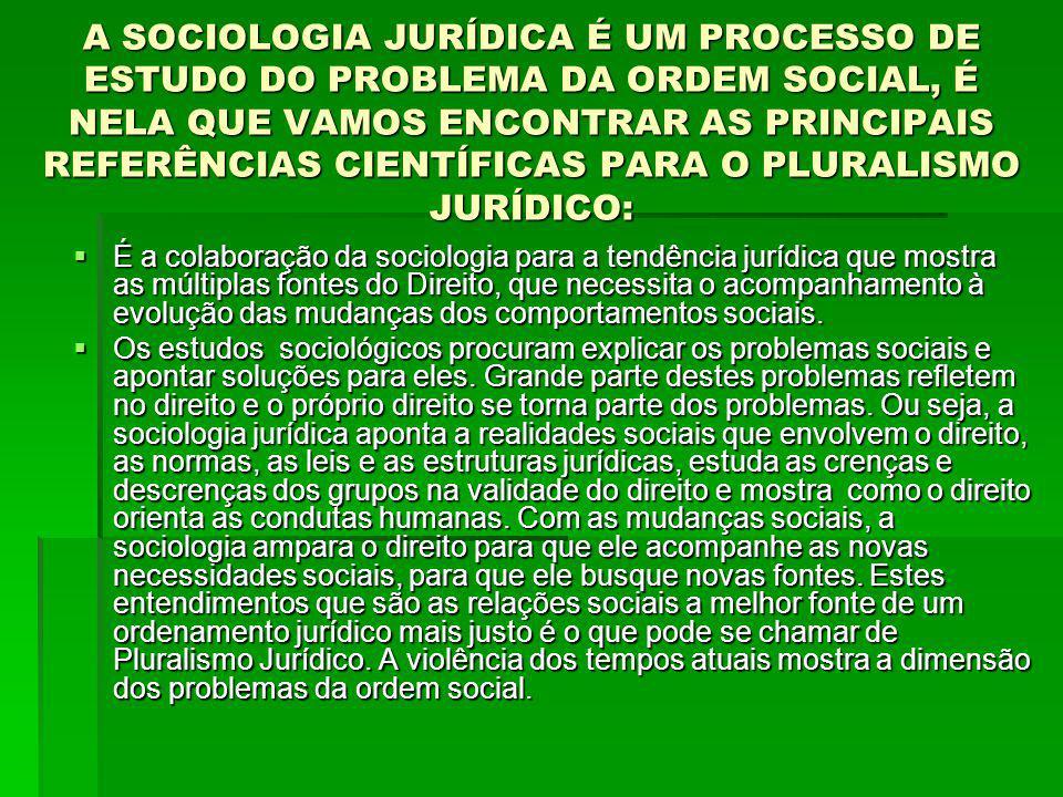 A SOCIOLOGIA JURÍDICA É UM PROCESSO DE ESTUDO DO PROBLEMA DA ORDEM SOCIAL, É NELA QUE VAMOS ENCONTRAR AS PRINCIPAIS REFERÊNCIAS CIENTÍFICAS PARA O PLURALISMO JURÍDICO: É a colaboração da sociologia para a tendência jurídica que mostra as múltiplas fontes do Direito, que necessita o acompanhamento à evolução das mudanças dos comportamentos sociais.