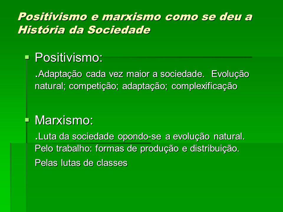 Positivismo e marxismo como se deu a História da Sociedade Positivismo:.