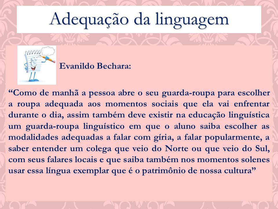 Evanildo Bechara: Como de manhã a pessoa abre o seu guarda-roupa para escolher a roupa adequada aos momentos sociais que ela vai enfrentar durante o d