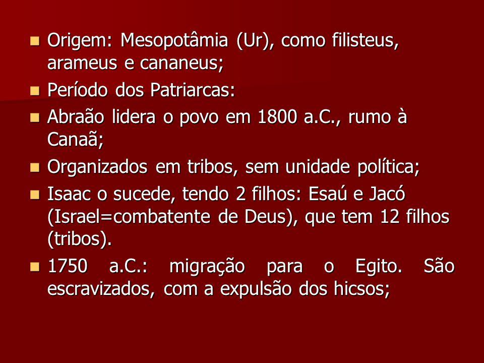 Origem: Mesopotâmia (Ur), como filisteus, arameus e cananeus; Origem: Mesopotâmia (Ur), como filisteus, arameus e cananeus; Período dos Patriarcas: Período dos Patriarcas: Abraão lidera o povo em 1800 a.C., rumo à Canaã; Abraão lidera o povo em 1800 a.C., rumo à Canaã; Organizados em tribos, sem unidade política; Organizados em tribos, sem unidade política; Isaac o sucede, tendo 2 filhos: Esaú e Jacó (Israel=combatente de Deus), que tem 12 filhos (tribos).