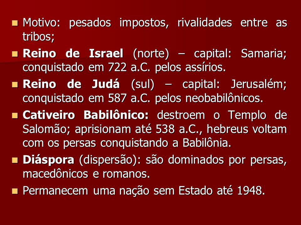 Motivo: pesados impostos, rivalidades entre as tribos; Motivo: pesados impostos, rivalidades entre as tribos; Reino de Israel (norte) – capital: Samaria; conquistado em 722 a.C.