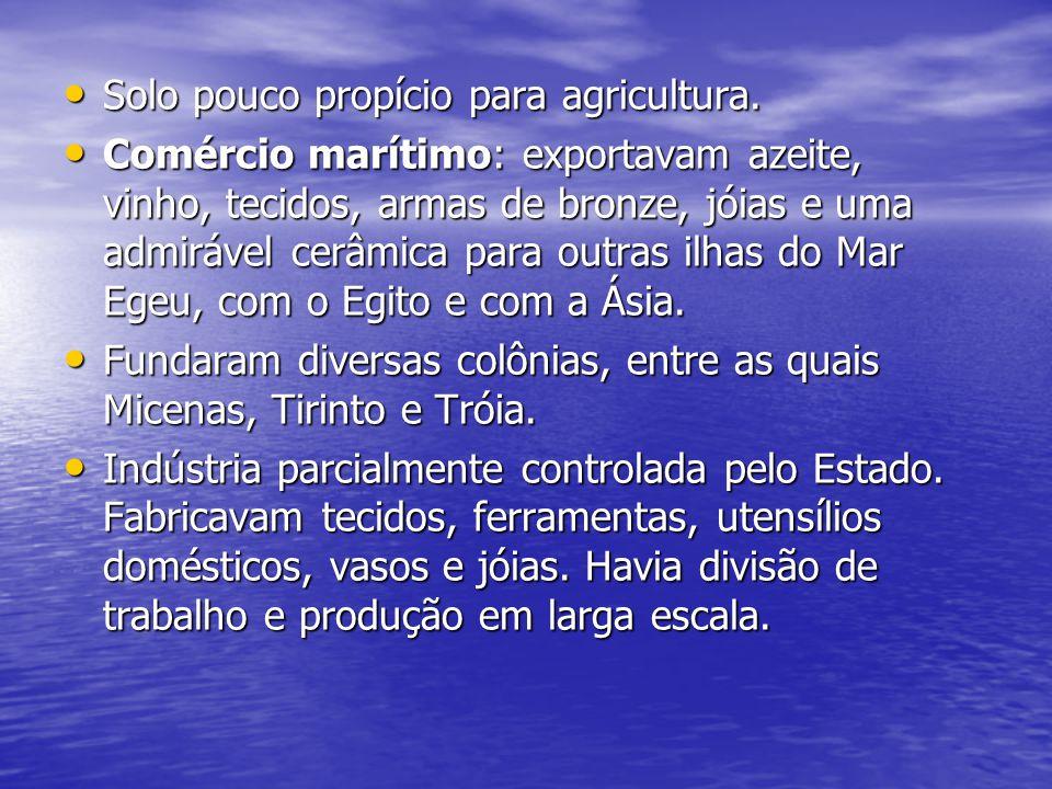 Solo pouco propício para agricultura. Solo pouco propício para agricultura. Comércio marítimo: exportavam azeite, vinho, tecidos, armas de bronze, jói