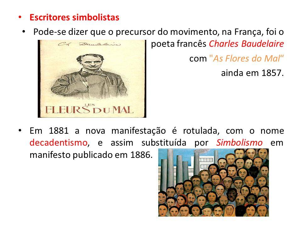 Escritores simbolistas Pode-se dizer que o precursor do movimento, na França, foi o poeta francês Charles Baudelaire com