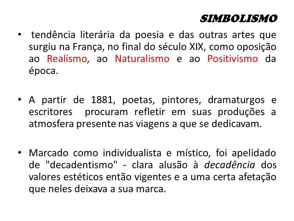 SIMBOLISMO tendência literária da poesia e das outras artes que surgiu na França, no final do século XIX, como oposição ao Realismo, ao Naturalismo e