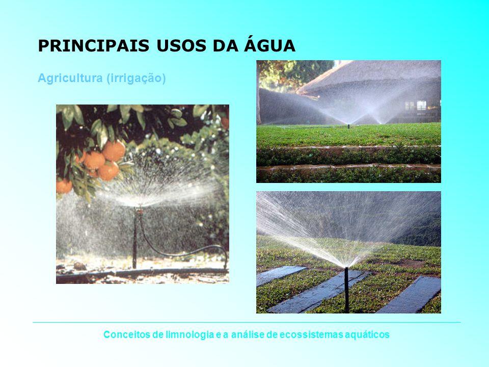 Conceitos de limnologia e a análise de ecossistemas aquáticos PRINCIPAIS USOS DA ÁGUA Agricultura (irrigação)