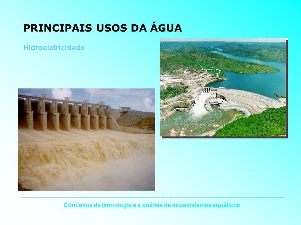 Conceitos de limnologia e a análise de ecossistemas aquáticos PRINCIPAIS USOS DA ÁGUA Hidroeletricidade
