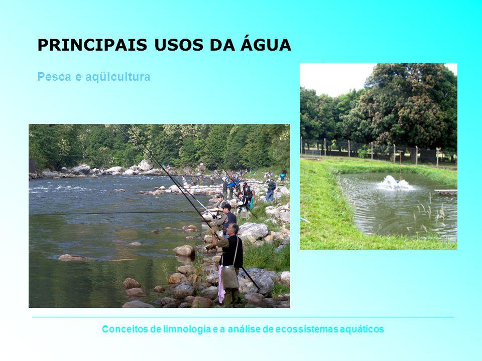 Conceitos de limnologia e a análise de ecossistemas aquáticos PRINCIPAIS USOS DA ÁGUA Pesca e aqüicultura