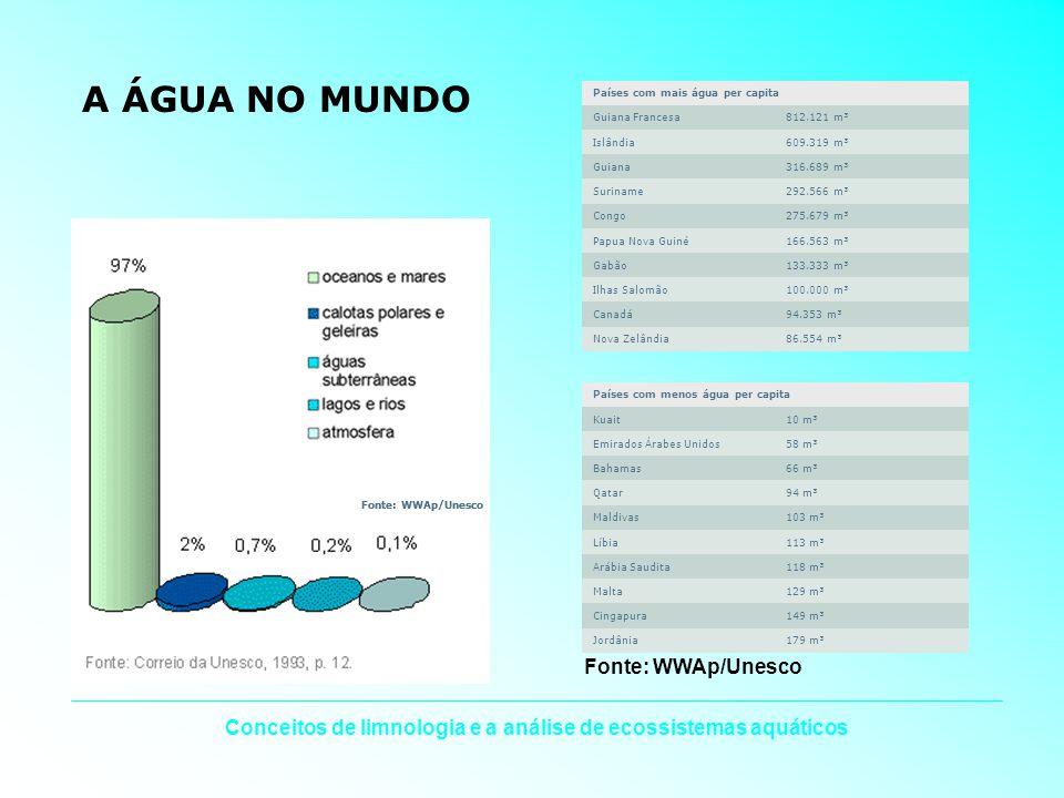 Conceitos de limnologia e a análise de ecossistemas aquáticos A ÁGUA NO MUNDO Países com mais água per capita Guiana Francesa812.121 m³ Islândia609.31