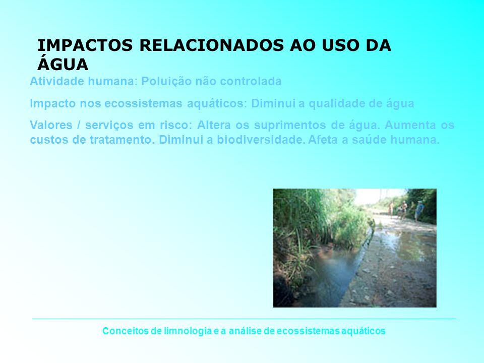 Conceitos de limnologia e a análise de ecossistemas aquáticos IMPACTOS RELACIONADOS AO USO DA ÁGUA Atividade humana: Poluição não controlada Impacto n