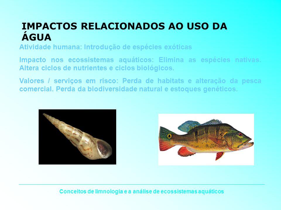 Conceitos de limnologia e a análise de ecossistemas aquáticos IMPACTOS RELACIONADOS AO USO DA ÁGUA Atividade humana: Introdução de espécies exóticas I