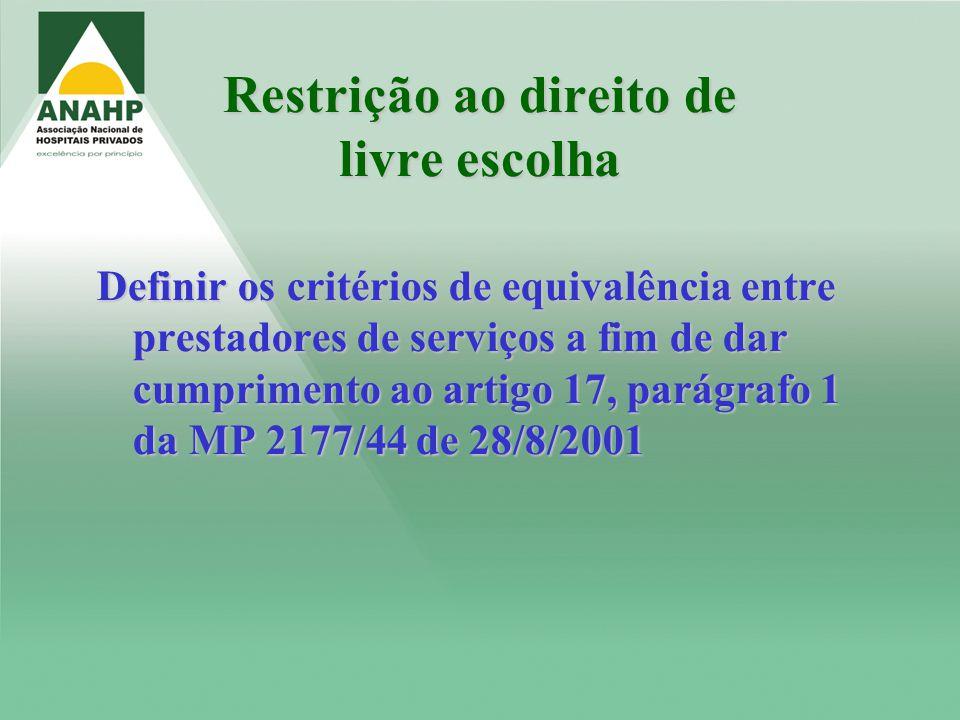 Restrição ao direito de livre escolha Definir os critérios de equivalência entre prestadores de serviços a fim de dar cumprimento ao artigo 17, parágr