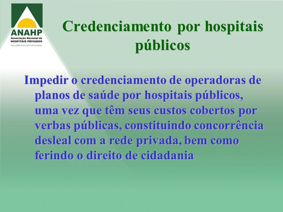 Credenciamento por hospitais públicos Impedir o credenciamento de operadoras de planos de saúde por hospitais públicos, uma vez que têm seus custos co