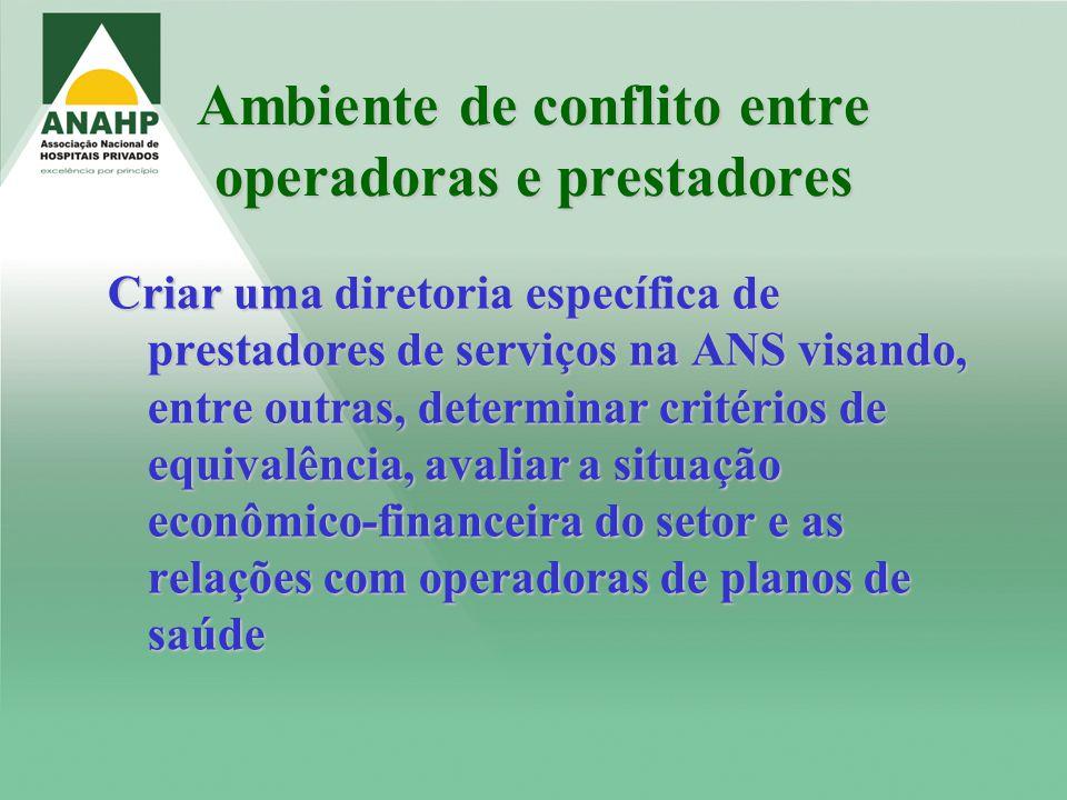 Ambiente de conflito entre operadoras e prestadores Criar uma diretoria específica de prestadores de serviços na ANS visando, entre outras, determinar