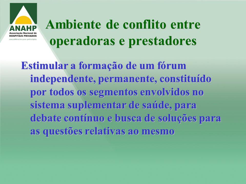 Ambiente de conflito entre operadoras e prestadores Estimular a formação de um fórum independente, permanente, constituído por todos os segmentos envo