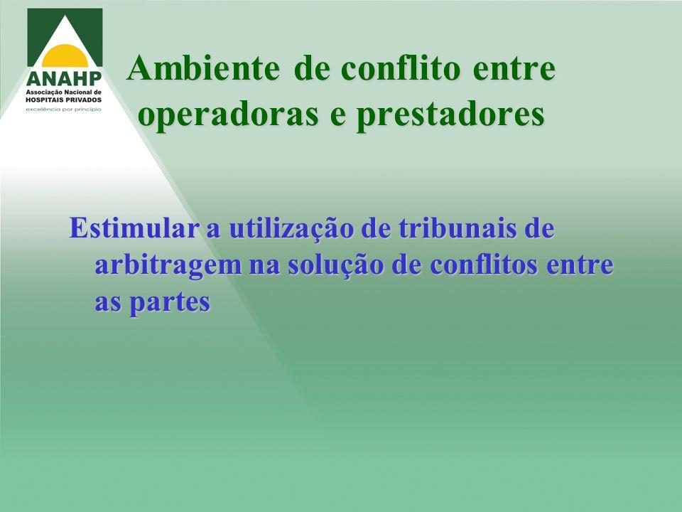 Ambiente de conflito entre operadoras e prestadores Estimular a utilização de tribunais de arbitragem na solução de conflitos entre as partes