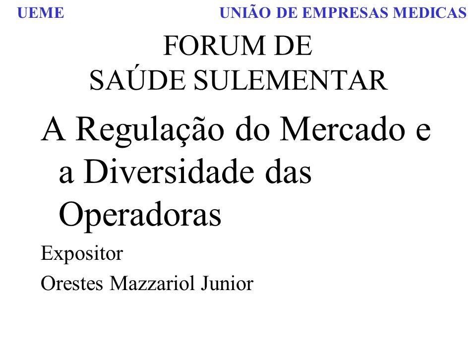 UEME UNIÃO DE EMPRESAS MEDICAS FORUM DE SAÚDE SULEMENTAR A Regulação do Mercado e a Diversidade das Operadoras Expositor Orestes Mazzariol Junior