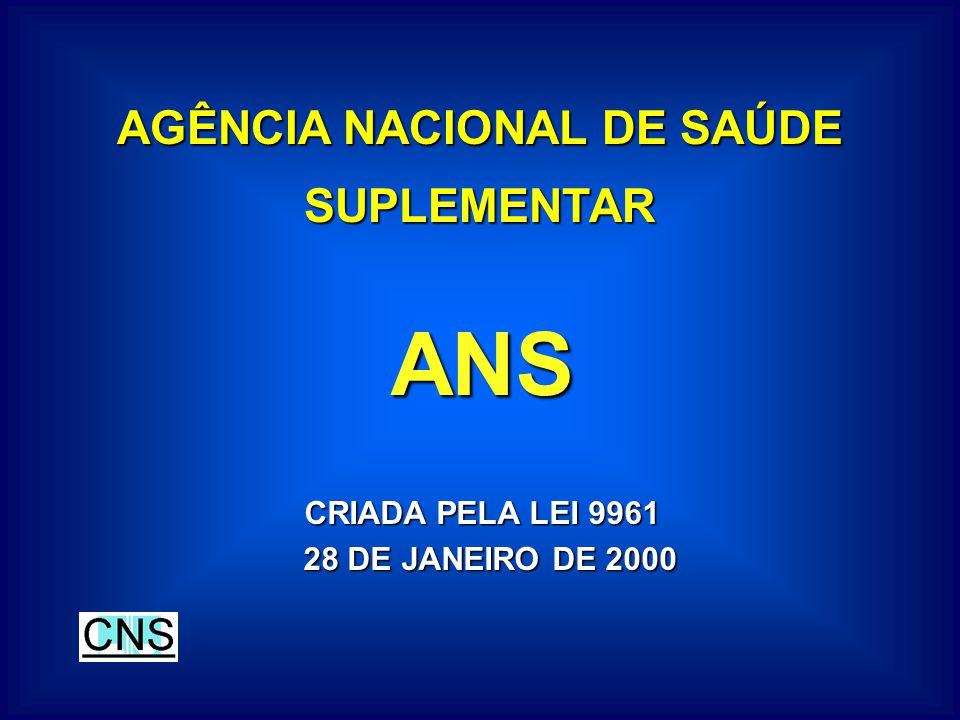 AGÊNCIA NACIONAL DE SAÚDE SUPLEMENTAR ANS CRIADA PELA LEI 9961 28 DE JANEIRO DE 2000