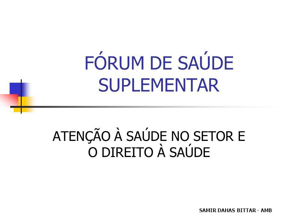 FÓRUM DE SAÚDE SUPLEMENTAR ATENÇÃO À SAÚDE NO SETOR E O DIREITO À SAÚDE SAMIR DAHAS BITTAR - AMB