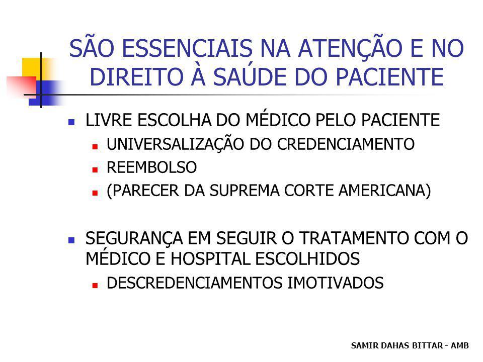 SÃO ESSENCIAIS NA ATENÇÃO E NO DIREITO À SAÚDE DO PACIENTE LIVRE ESCOLHA DO MÉDICO PELO PACIENTE UNIVERSALIZAÇÃO DO CREDENCIAMENTO REEMBOLSO (PARECER DA SUPREMA CORTE AMERICANA) SEGURANÇA EM SEGUIR O TRATAMENTO COM O MÉDICO E HOSPITAL ESCOLHIDOS DESCREDENCIAMENTOS IMOTIVADOS