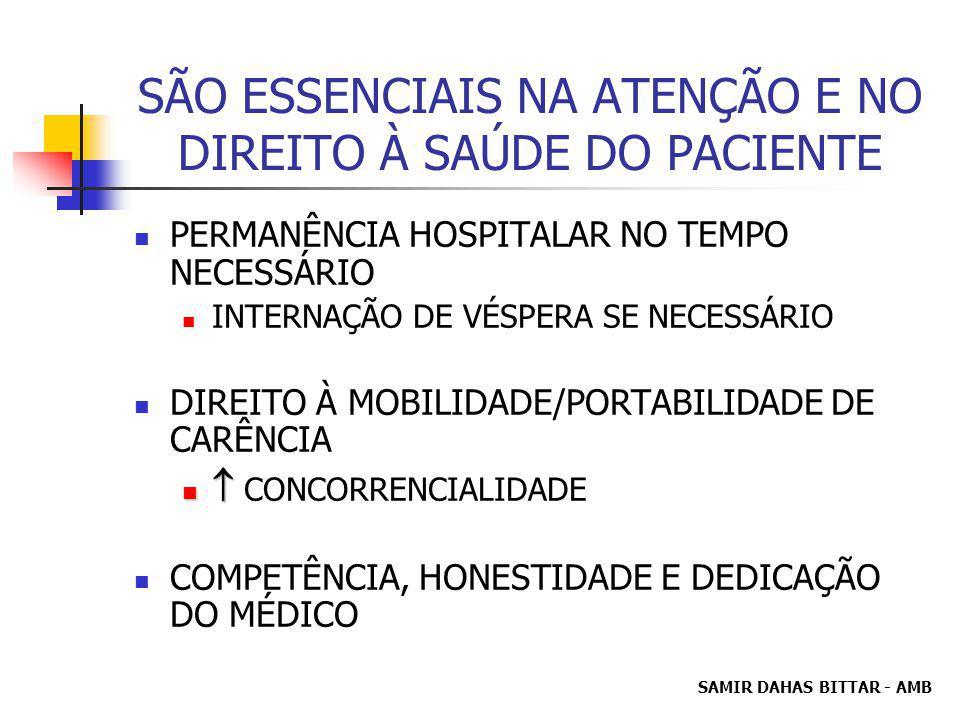 SAMIR DAHAS BITTAR - AMB SÃO ESSENCIAIS NA ATENÇÃO E NO DIREITO À SAÚDE DO PACIENTE PERMANÊNCIA HOSPITALAR NO TEMPO NECESSÁRIO INTERNAÇÃO DE VÉSPERA SE NECESSÁRIO DIREITO À MOBILIDADE/PORTABILIDADE DE CARÊNCIA CONCORRENCIALIDADE COMPETÊNCIA, HONESTIDADE E DEDICAÇÃO DO MÉDICO