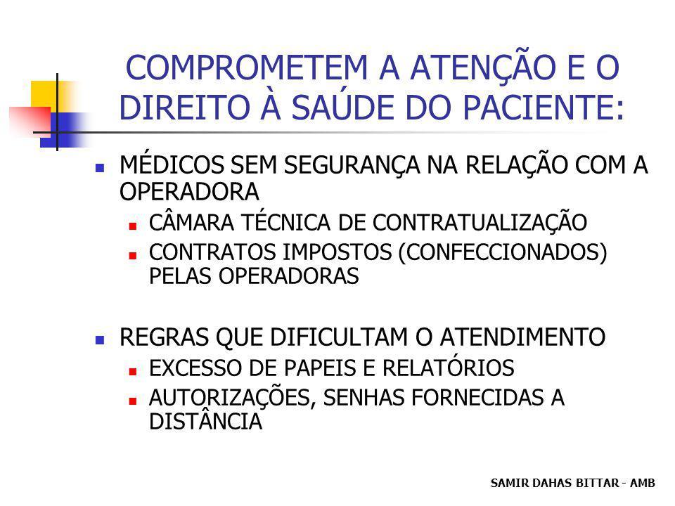 SAMIR DAHAS BITTAR - AMB COMPROMETEM A ATENÇÃO E O DIREITO À SAÚDE DO PACIENTE: MÉDICOS SEM SEGURANÇA NA RELAÇÃO COM A OPERADORA CÂMARA TÉCNICA DE CONTRATUALIZAÇÃO CONTRATOS IMPOSTOS (CONFECCIONADOS) PELAS OPERADORAS REGRAS QUE DIFICULTAM O ATENDIMENTO EXCESSO DE PAPEIS E RELATÓRIOS AUTORIZAÇÕES, SENHAS FORNECIDAS A DISTÂNCIA