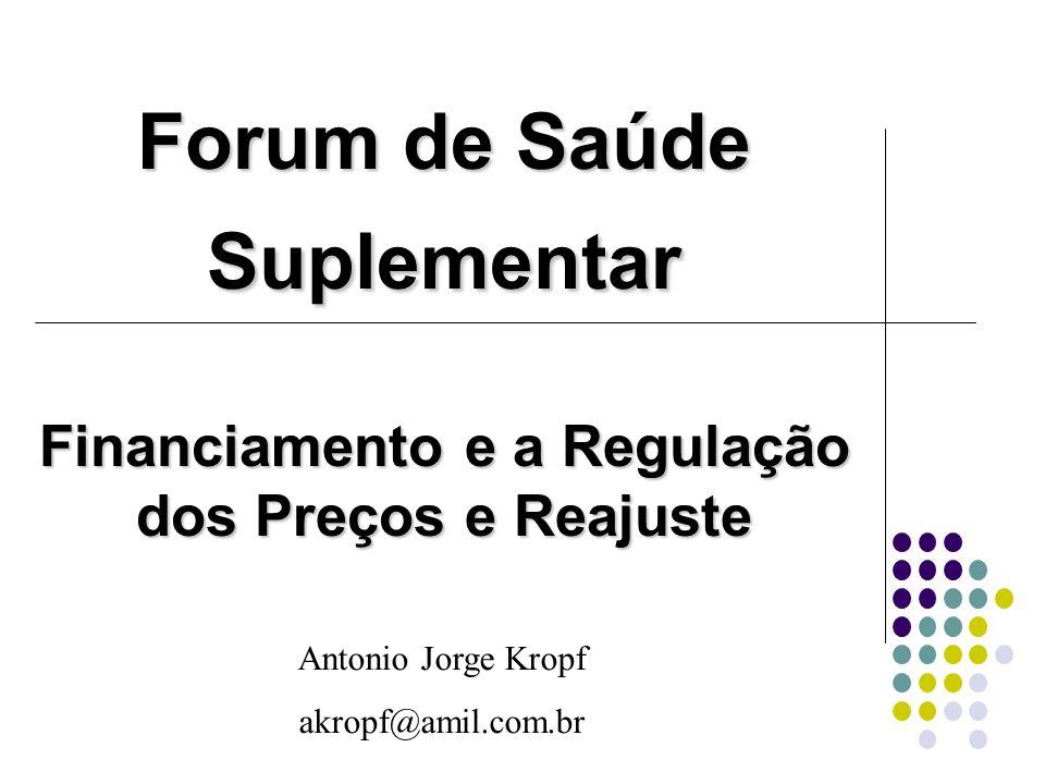 Forum de Saúde Suplementar Financiamento e a Regulação dos Preços e Reajuste Antonio Jorge Kropf akropf@amil.com.br