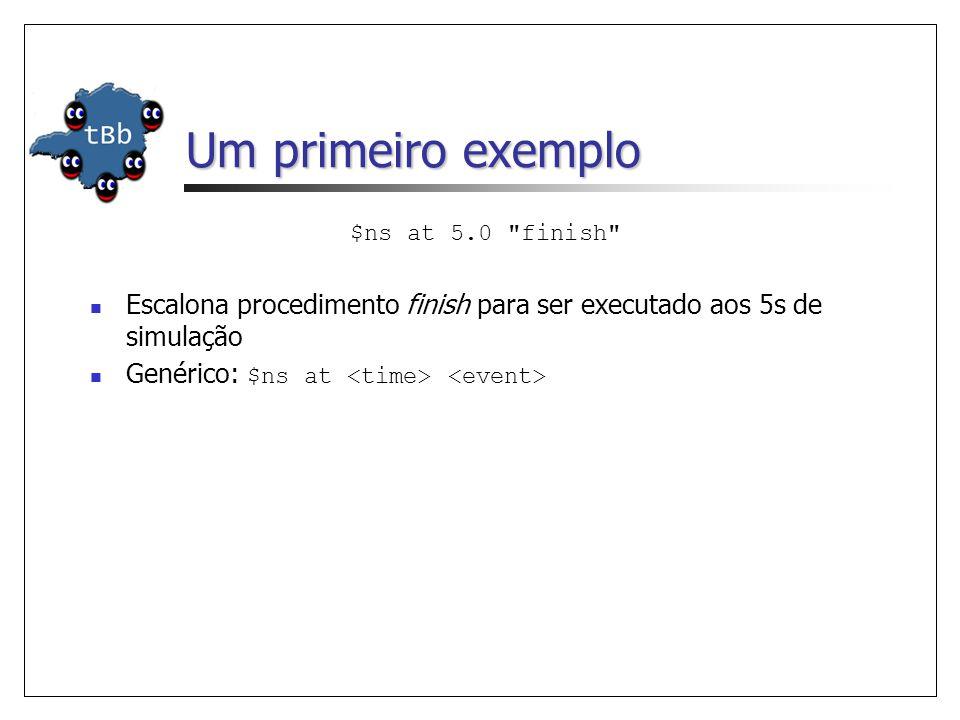Um primeiro exemplo $ns at 5.0 finish Escalona procedimento finish para ser executado aos 5s de simulação Genérico: $ns at