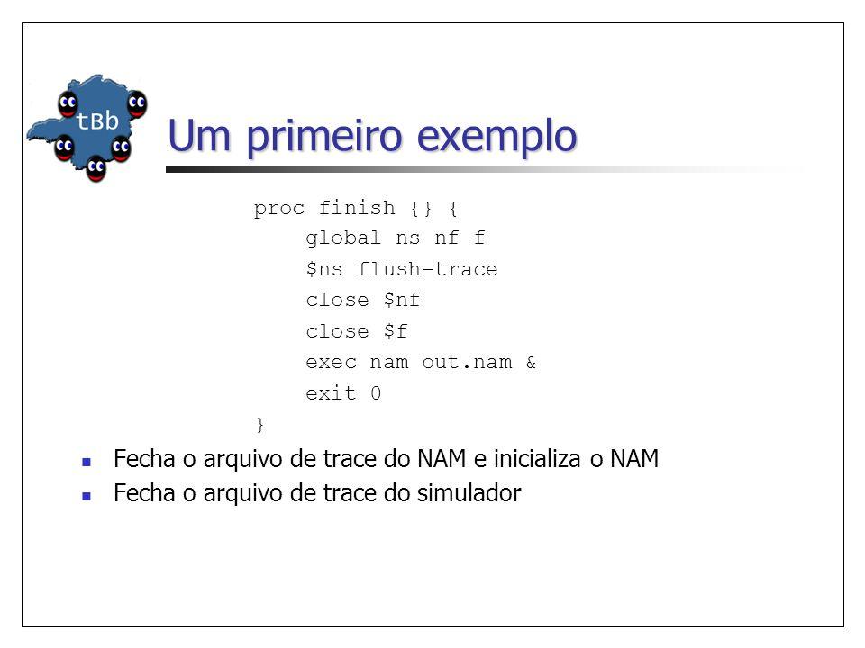Um primeiro exemplo proc finish {} { global ns nf f $ns flush-trace close $nf close $f exec nam out.nam & exit 0 } Fecha o arquivo de trace do NAM e inicializa o NAM Fecha o arquivo de trace do simulador