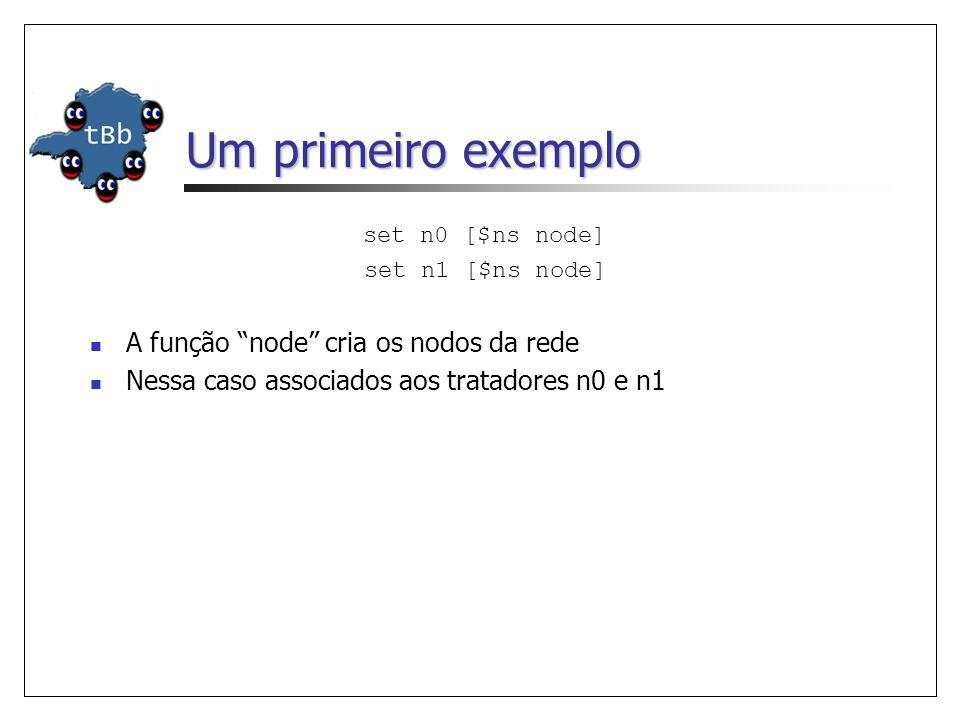 Um primeiro exemplo set n0 [$ns node] set n1 [$ns node] A função node cria os nodos da rede Nessa caso associados aos tratadores n0 e n1