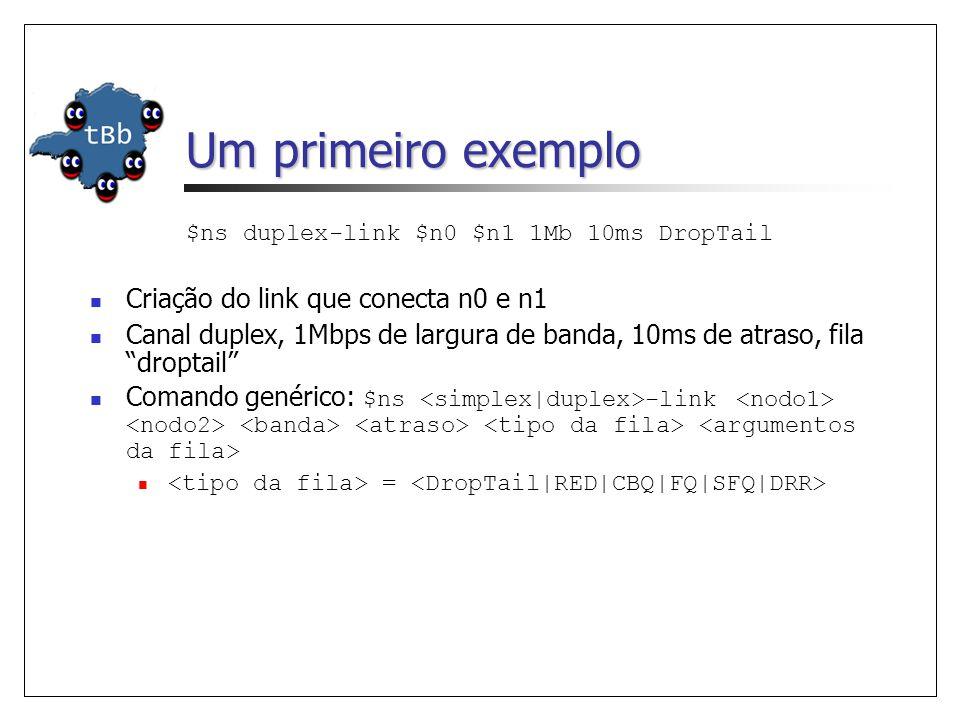 Um primeiro exemplo $ns duplex-link $n0 $n1 1Mb 10ms DropTail Criação do link que conecta n0 e n1 Canal duplex, 1Mbps de largura de banda, 10ms de atraso, fila droptail Comando genérico: $ns -link =