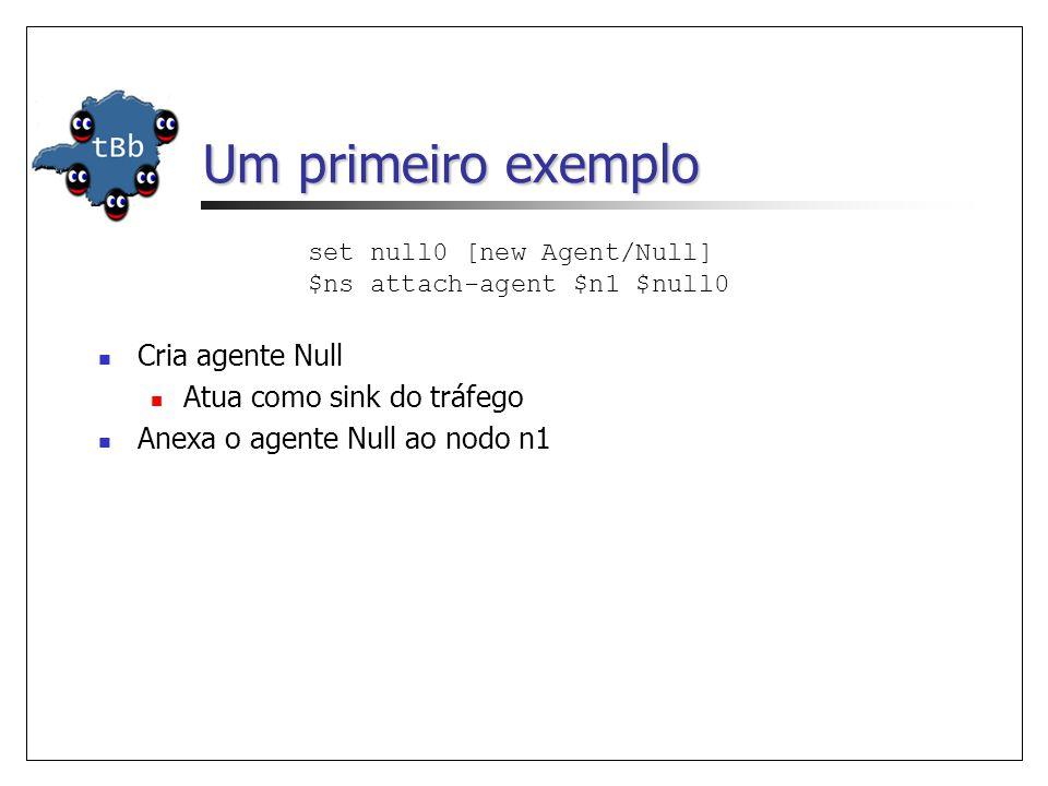 Um primeiro exemplo set null0 [new Agent/Null] $ns attach-agent $n1 $null0 Cria agente Null Atua como sink do tráfego Anexa o agente Null ao nodo n1