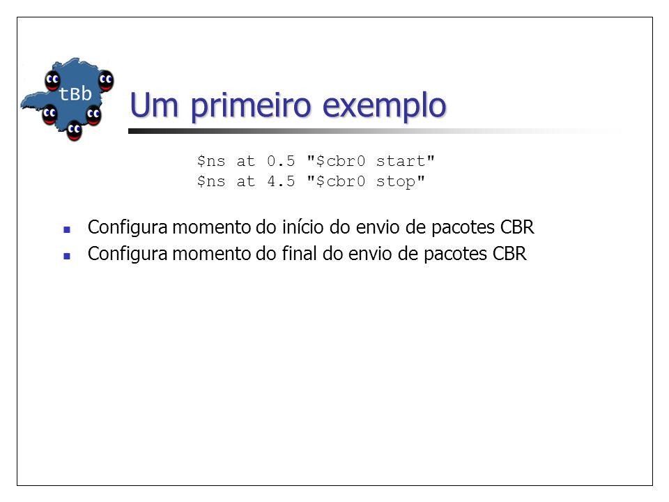 Um primeiro exemplo $ns at 0.5 $cbr0 start $ns at 4.5 $cbr0 stop Configura momento do início do envio de pacotes CBR Configura momento do final do envio de pacotes CBR