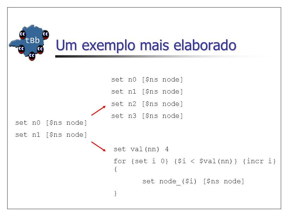 Um exemplo mais elaborado set n0 [$ns node] set n1 [$ns node] set n0 [$ns node] set n1 [$ns node] set n2 [$ns node] set n3 [$ns node] set val(nn) 4 fo
