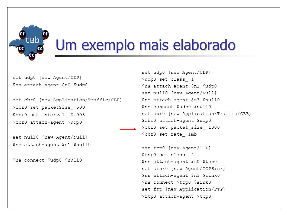 Um exemplo mais elaborado set udp0 [new Agent/UDP] $ns attach-agent $n0 $udp0 set cbr0 [new Application/Traffic/CBR] $cbr0 set packetSize_ 500 $cbr0 set interval_ 0.005 $cbr0 attach-agent $udp0 set null0 [new Agent/Null] $ns attach-agent $n1 $null0 $ns connect $udp0 $null0 set udp0 [new Agent/UDP] $udp0 set class_ 1 $ns attach-agent $n1 $udp0 set null0 [new Agent/Null] $ns attach-agent $n3 $null0 $ns connect $udp0 $null0 set cbr0 [new Application/Traffic/CBR] $cbr0 attach-agent $udp0 $cbr0 set packet_size_ 1000 $cbr0 set rate_ 1mb set tcp0 [new Agent/TCP] $tcp0 set class_ 2 $ns attach-agent $n0 $tcp0 set sink0 [new Agent/TCPSink] $ns attach-agent $n3 $sink0 $ns connect $tcp0 $sink0 set ftp [new Application/FTP] $ftp0 attach-agent $tcp0