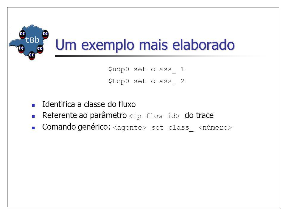 Um exemplo mais elaborado $udp0 set class_ 1 $tcp0 set class_ 2 Identifica a classe do fluxo Referente ao parâmetro do trace Comando genérico: set cla
