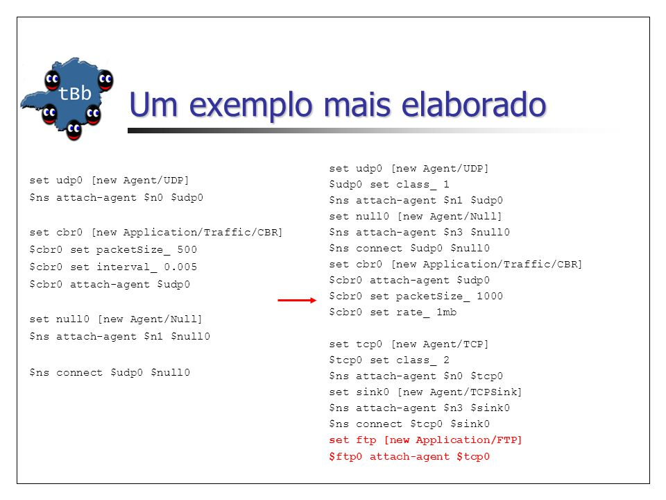 Um exemplo mais elaborado set udp0 [new Agent/UDP] $ns attach-agent $n0 $udp0 set cbr0 [new Application/Traffic/CBR] $cbr0 set packetSize_ 500 $cbr0 set interval_ 0.005 $cbr0 attach-agent $udp0 set null0 [new Agent/Null] $ns attach-agent $n1 $null0 $ns connect $udp0 $null0 set udp0 [new Agent/UDP] $udp0 set class_ 1 $ns attach-agent $n1 $udp0 set null0 [new Agent/Null] $ns attach-agent $n3 $null0 $ns connect $udp0 $null0 set cbr0 [new Application/Traffic/CBR] $cbr0 attach-agent $udp0 $cbr0 set packetSize_ 1000 $cbr0 set rate_ 1mb set tcp0 [new Agent/TCP] $tcp0 set class_ 2 $ns attach-agent $n0 $tcp0 set sink0 [new Agent/TCPSink] $ns attach-agent $n3 $sink0 $ns connect $tcp0 $sink0 set ftp [new Application/FTP] $ftp0 attach-agent $tcp0