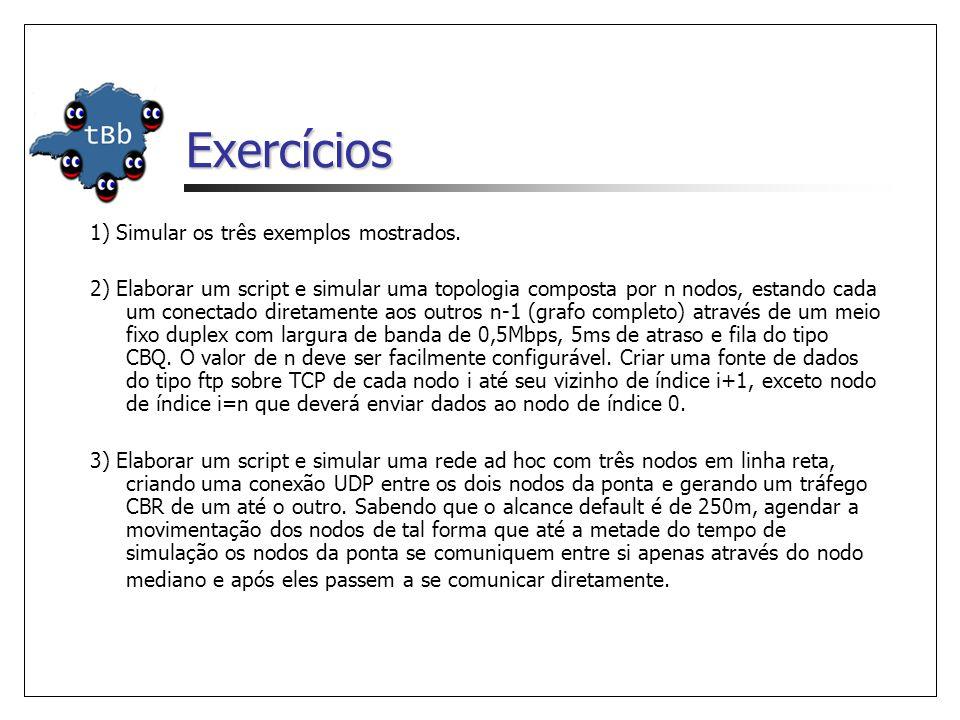 Exercícios 1) Simular os três exemplos mostrados.