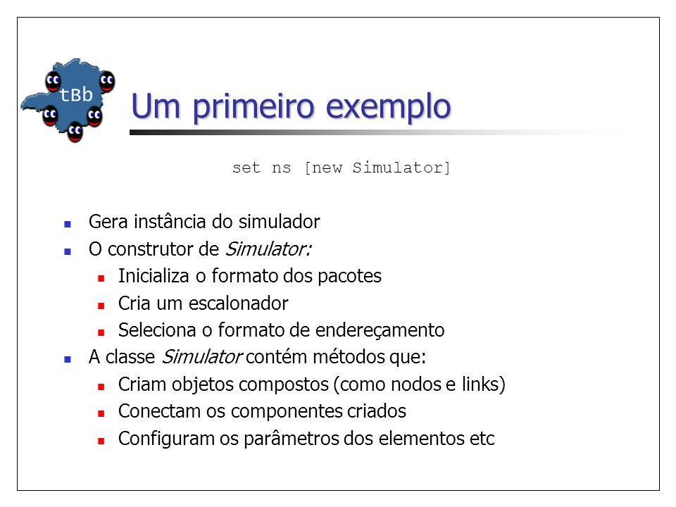 Um primeiro exemplo set ns [new Simulator] Gera instância do simulador O construtor de Simulator: Inicializa o formato dos pacotes Cria um escalonador